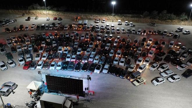 Nevşehir'de Otomobillerle Açık Hava Sineması Etkinliği
